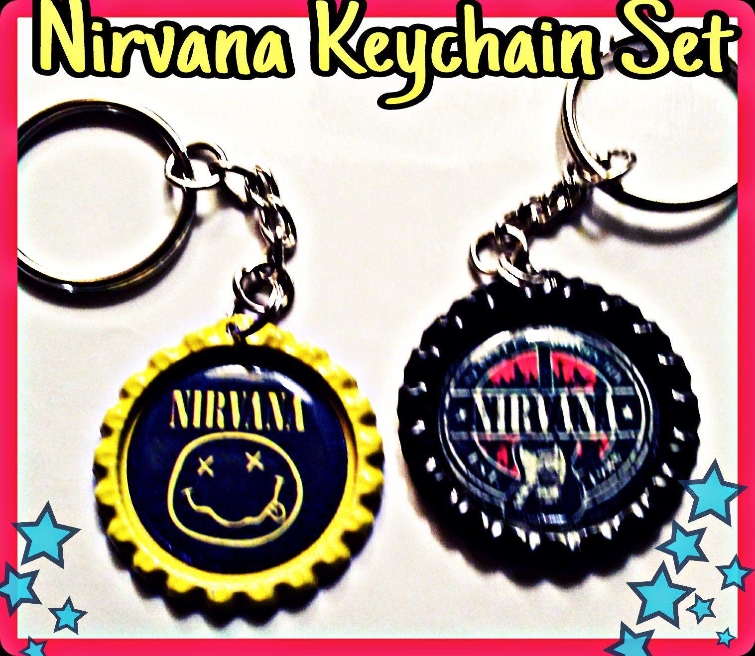 Nirvana Inspired handmade keychain set
