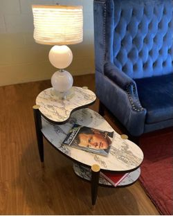Vintage Matching 1950s Marbleized Side Tables. Thumbnail