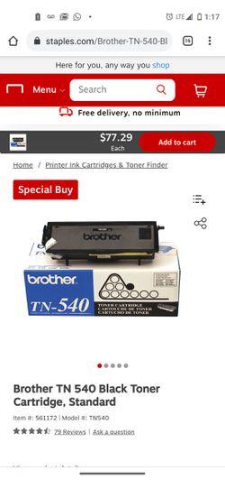 Brother TN 540 Black Toner Cartridge, Standard Thumbnail