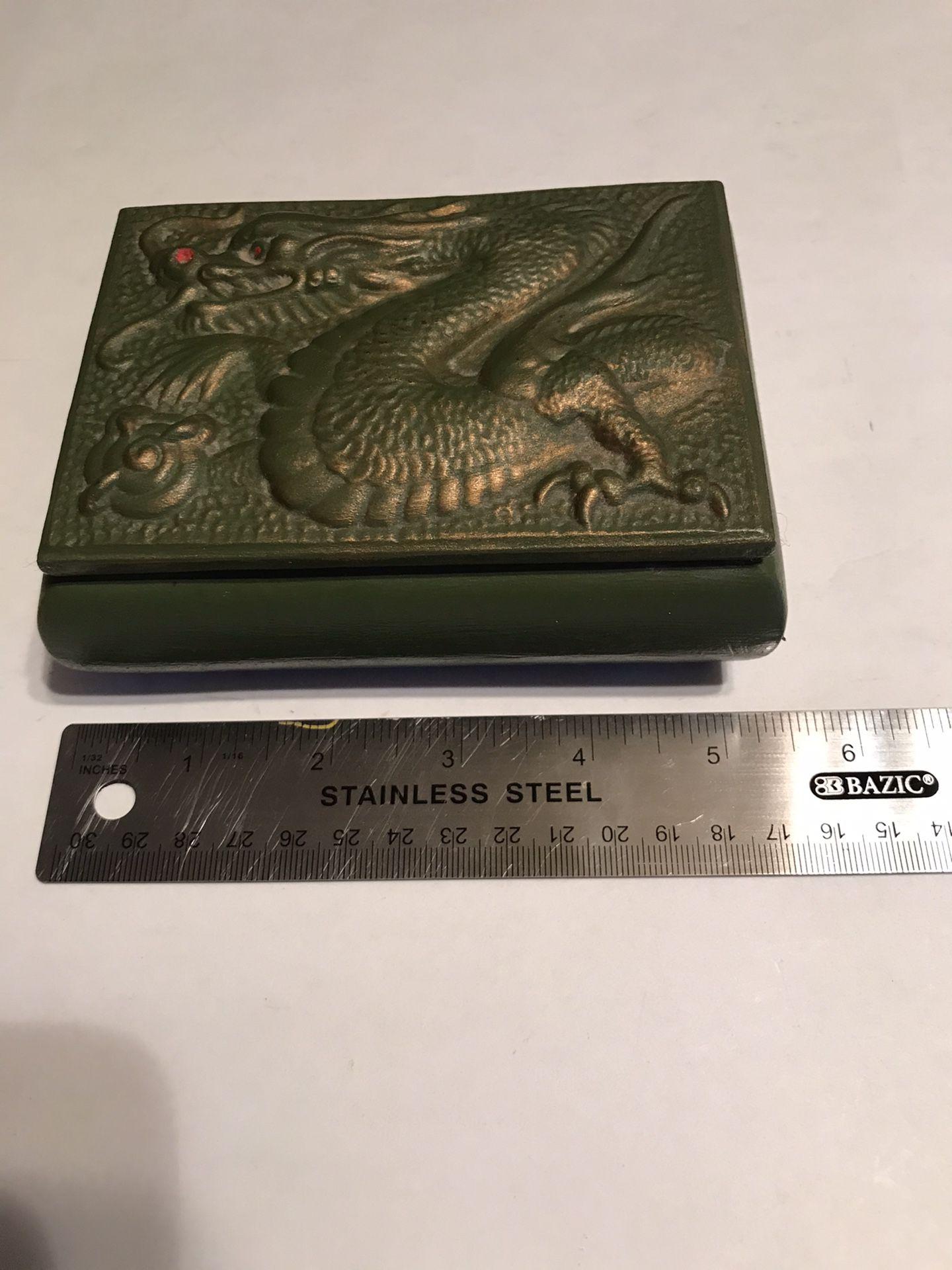 1980's Vintage Jamar Mallory Green & Gold Ceramic Dragon Trinket Box