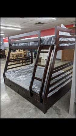 Twin Over Full Oak Wooden Bunk Bed Set ONLY $789!! $39 Down, Fast And Easy Approvals! Thumbnail