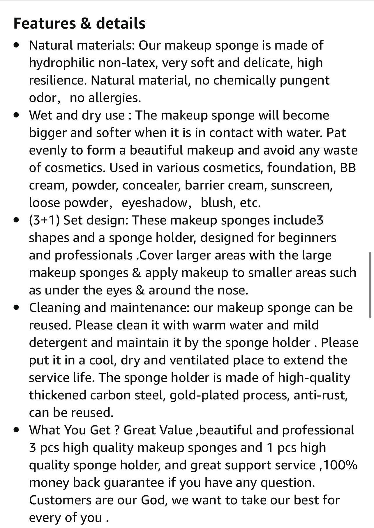 4 pc Make up sponge blender set new