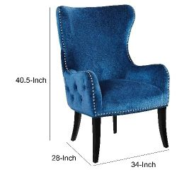 Wingback Design Velvet Accent Chair with Wooden Legs, Blue and Black Thumbnail