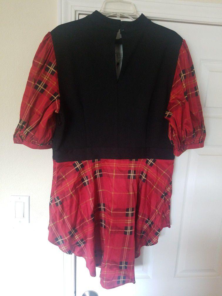 New York And Company Black/Red Tartan Plaid Hi-Lo Handkerchief Hem Shirt