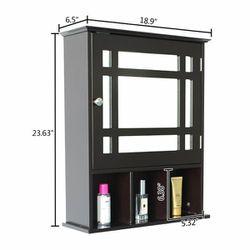 Single Door Three Compartment Storage Bathroom Cabinet - Grey-brown Thumbnail
