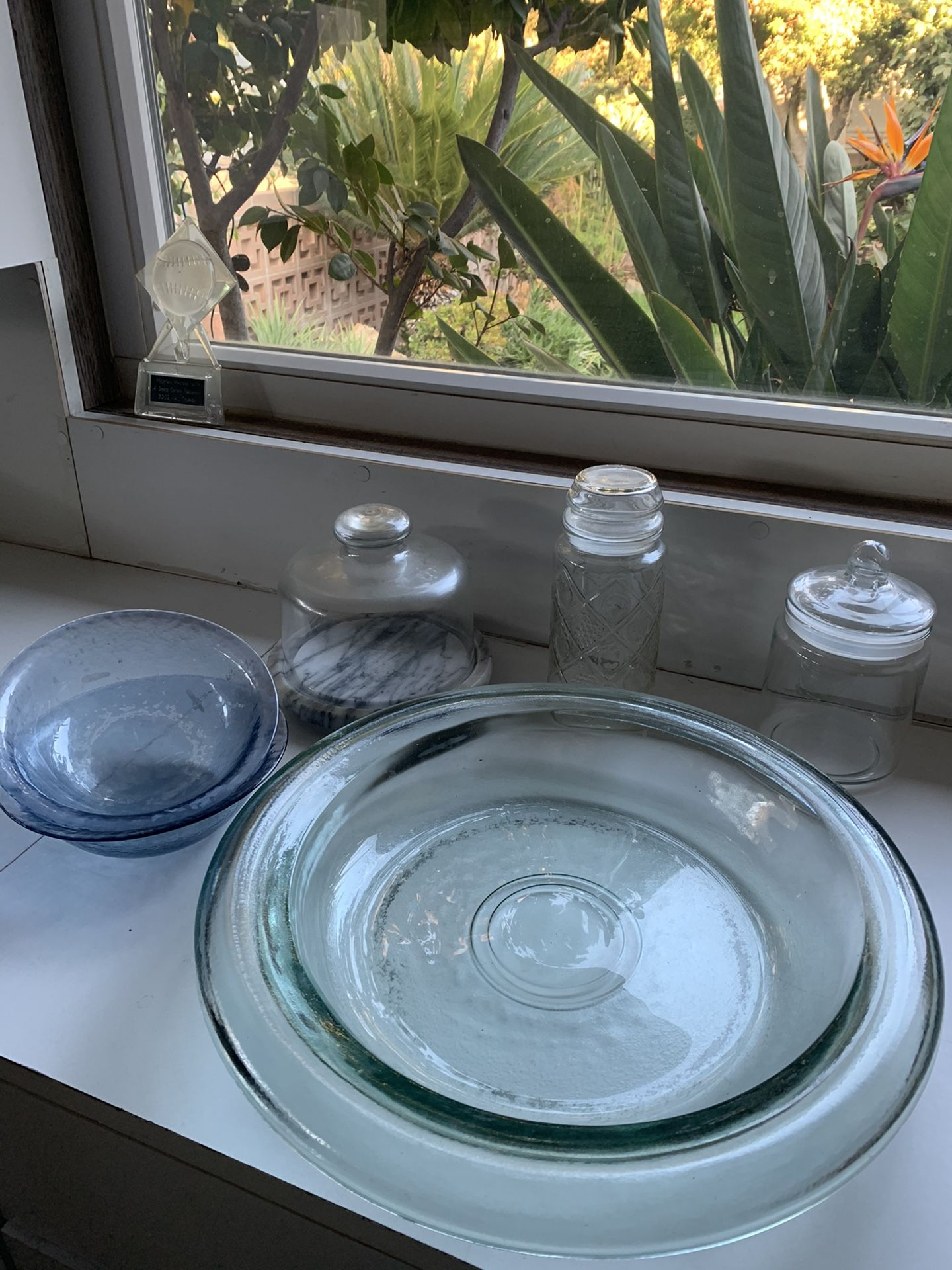 Glass tray , bowls, cheese tray with lid , candy jars
