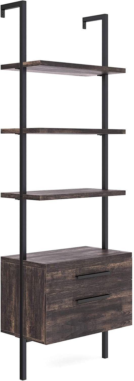 Matte Steel Frame Industrial Bookshelf with Wood Drawers, 3-Shelf, Nutmeg/Black