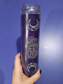 Purple Prayer Candle With Crystals And Moon Pattern Thumbnail