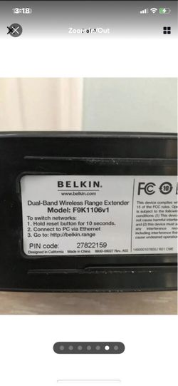 Belkin Model F9K1116v1 AC750 Dual Band AC+ WiFi Router Thumbnail