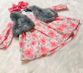Cat & Jack Dress w/ Faux Fur Vest *3-6 Months  Thumbnail