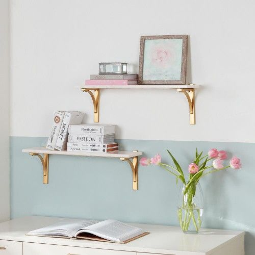 Home Decorators Collection 8 in. H x 24 in. W x 8 in. D Marble Wall-Mount Shelf with Gold Metal Brackets (Set of 2)  - #67385-OS