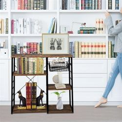 Hodely 5-Layer MDF Industrial Wrought Iron Kitchen Shelf With Drain Basket Hook Thumbnail