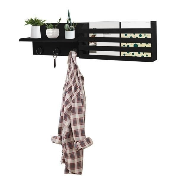 Wall Shelf and Mail Holder with 3 Hooks, 24-Inch by 6-Inch, Black