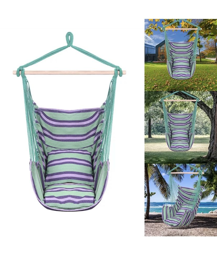 Deluxe Hanging Rope Chair  *Canvas Porch Swing/Yard Garden/Patio Hammock * $50/each or 2/$85 Blue/green Stripes