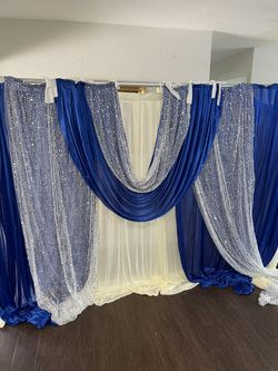 Party Decoration Curtains(OFF WHITE/BLUE) Thumbnail