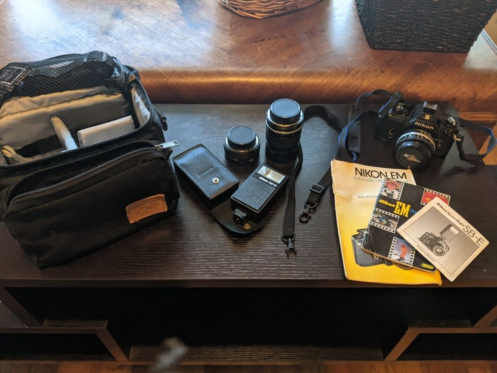 Nikon EM film camera + accessories