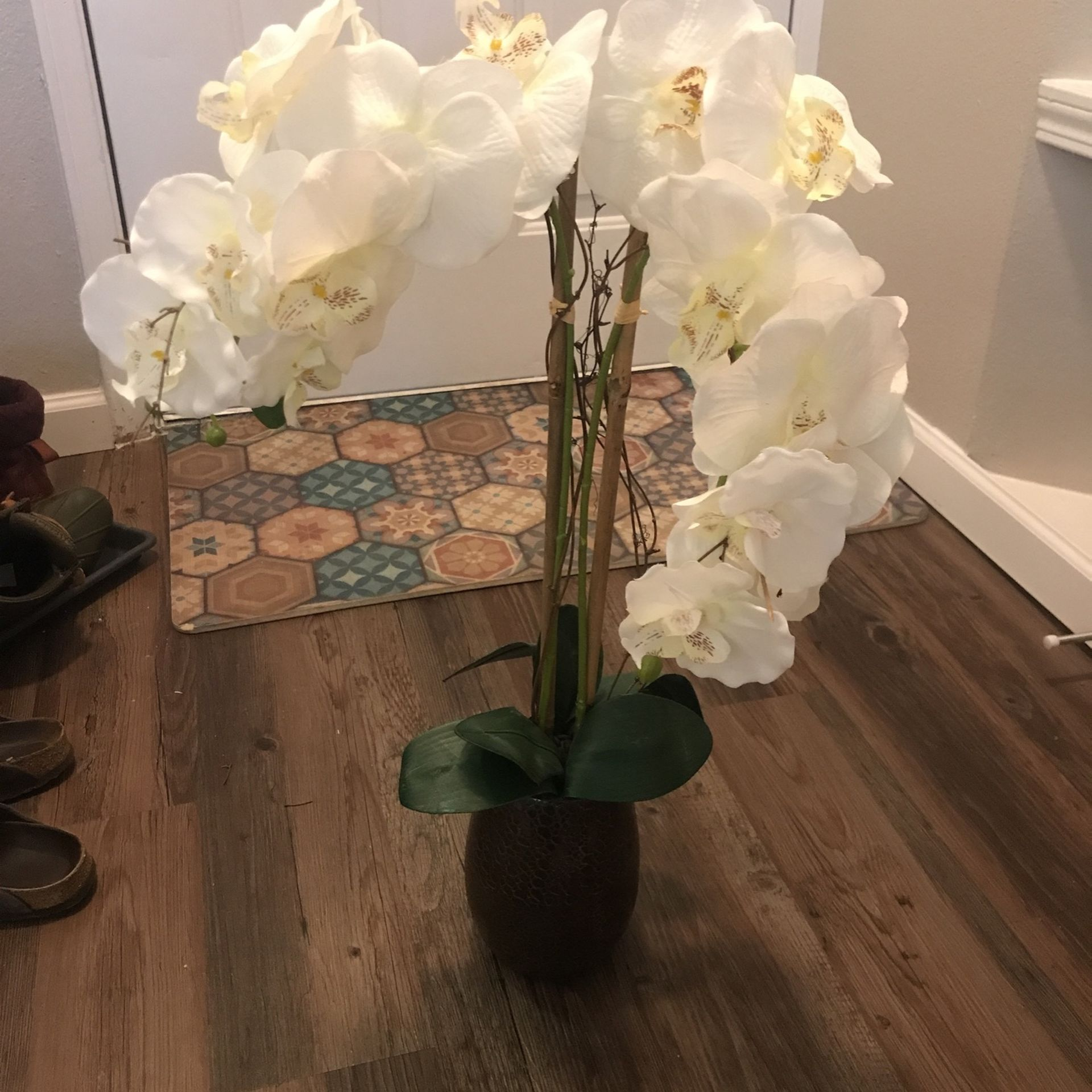 Fake Orchid Flower In Pot Topiary