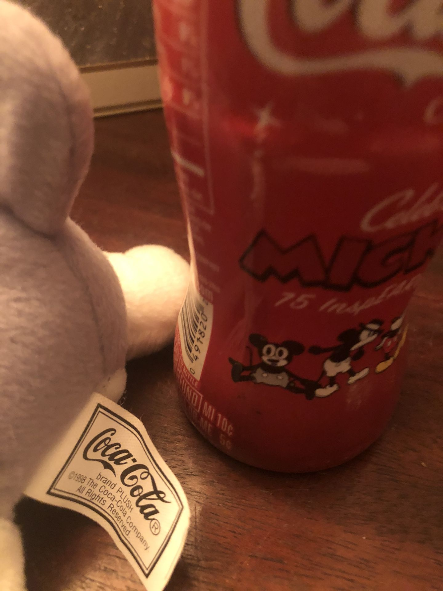 Vintage 1998 Coca Cola husky Plush & New/ Never Opened 75th Mickey Anniversary 8 Oz Bottle- Good Condition - See Pics! Good Deal!
