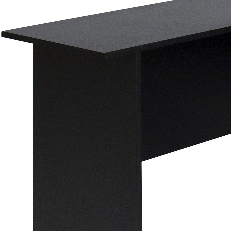 Functional L-Shaped Computer Desk with 2 Open Bookshelves, Black