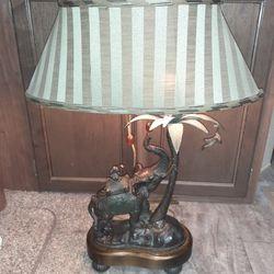 Frederick Cooper Safari Collection Bronze Elephant & Monkey Table Lamp Thumbnail