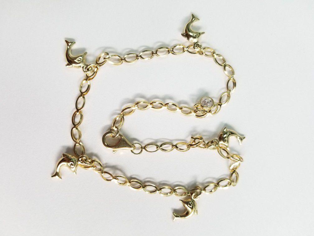 10k Yellow Gold Dolphin Anklet Cz Link Chain Tobillera De Mujer Delfines Con Piedras Cz 10 Inches Pulgadas