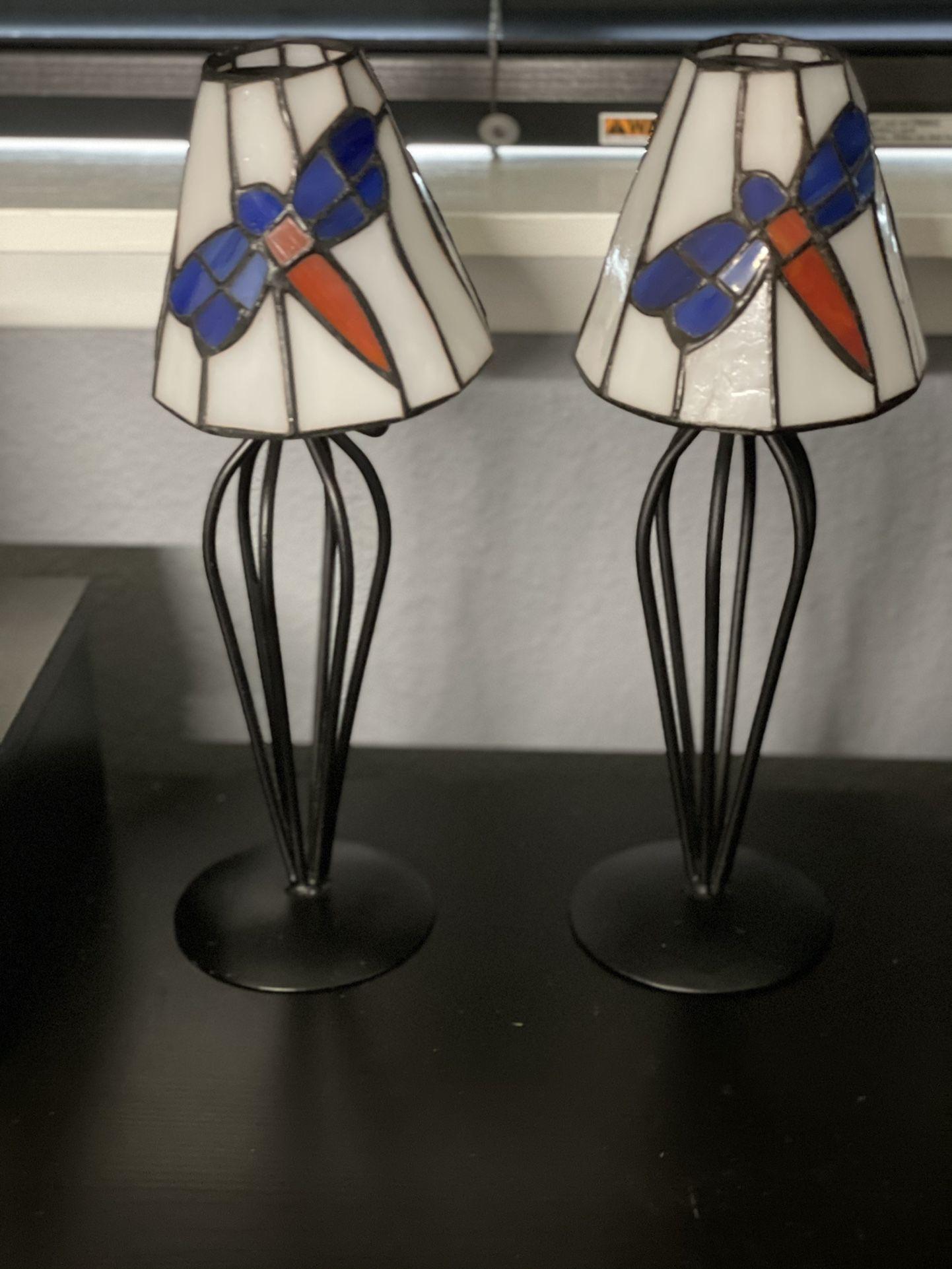Stained Glass Fireflies Tea Lights