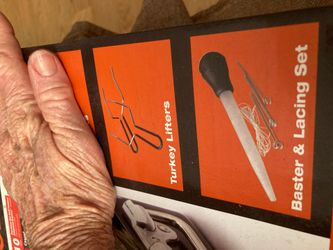 BE carbon steel roasting pan w Turkey lifters and vaster/lacing set Thumbnail