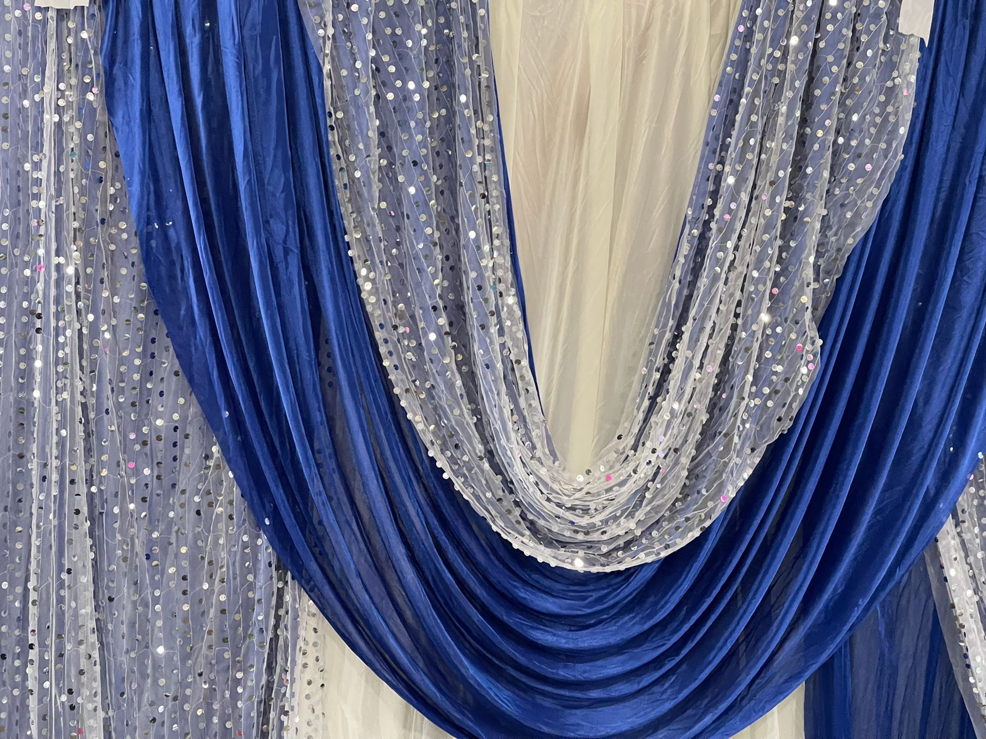 Party Decoration Curtains(OFF WHITE/BLUE)