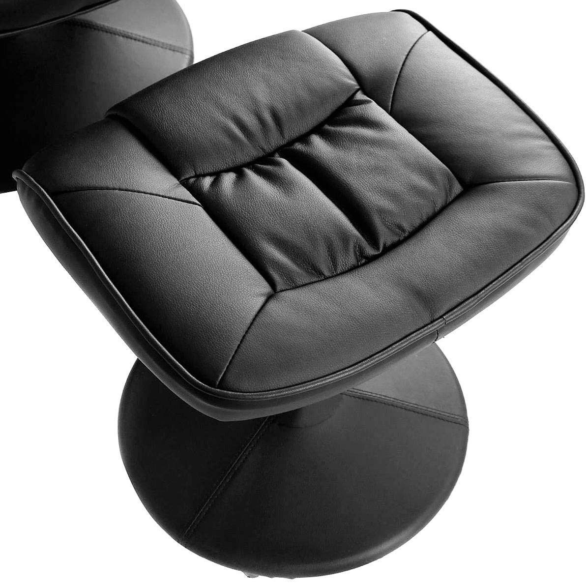 Swivel Recliner Chair, Leather Lounge Armchair Recliner, 360 Degree Swivel Overstuffed Padded Seat w/ Footrest Stool Ottoman Set