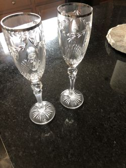 Cherished Moments Waterford Crystal Toasting Flutes LIMITED EDITION Thumbnail
