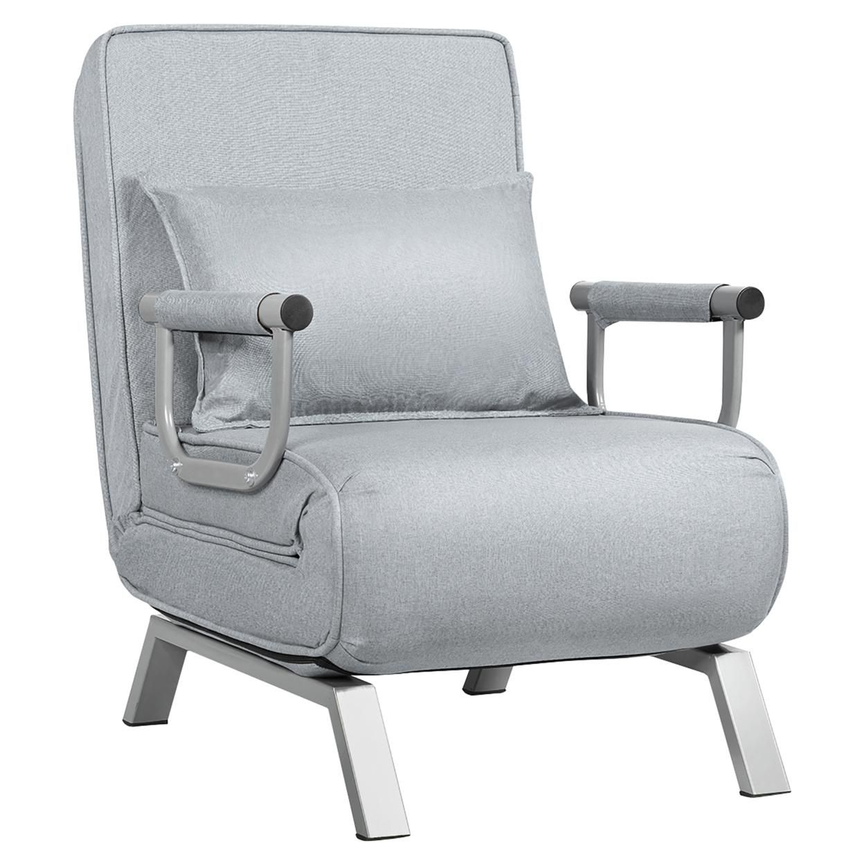 Costway Folding 5 Position Convertible Sleeper Bed Armchair Lounge w/ Pillow Light Gray\Coffee\Black