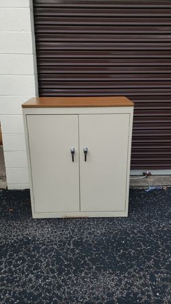 Sandusky Metal Office Supply Cabinet with Shelves and wood laminate top