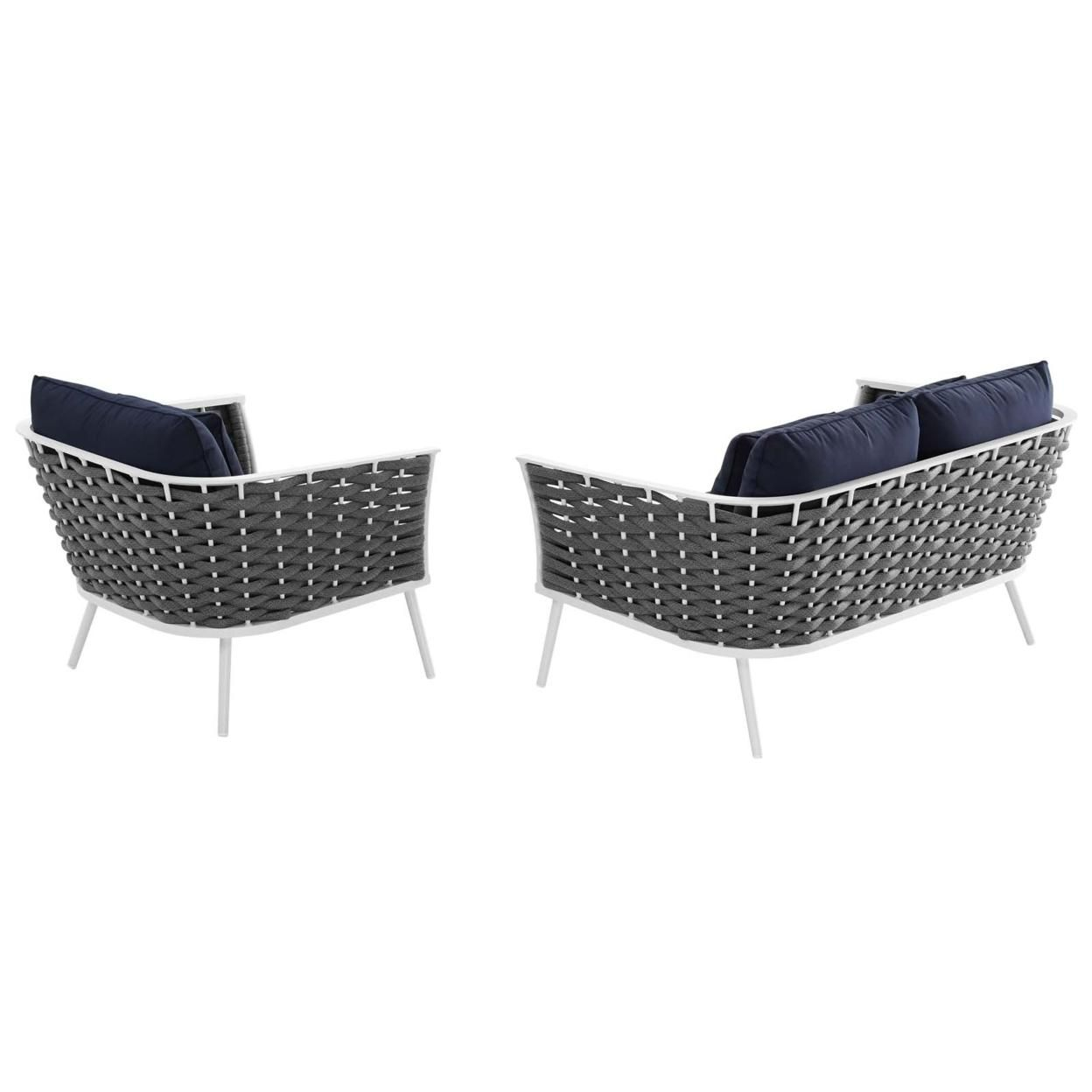 Stance 2 Piece Outdoor Patio Aluminum Sectional Sofa Set, White Navy