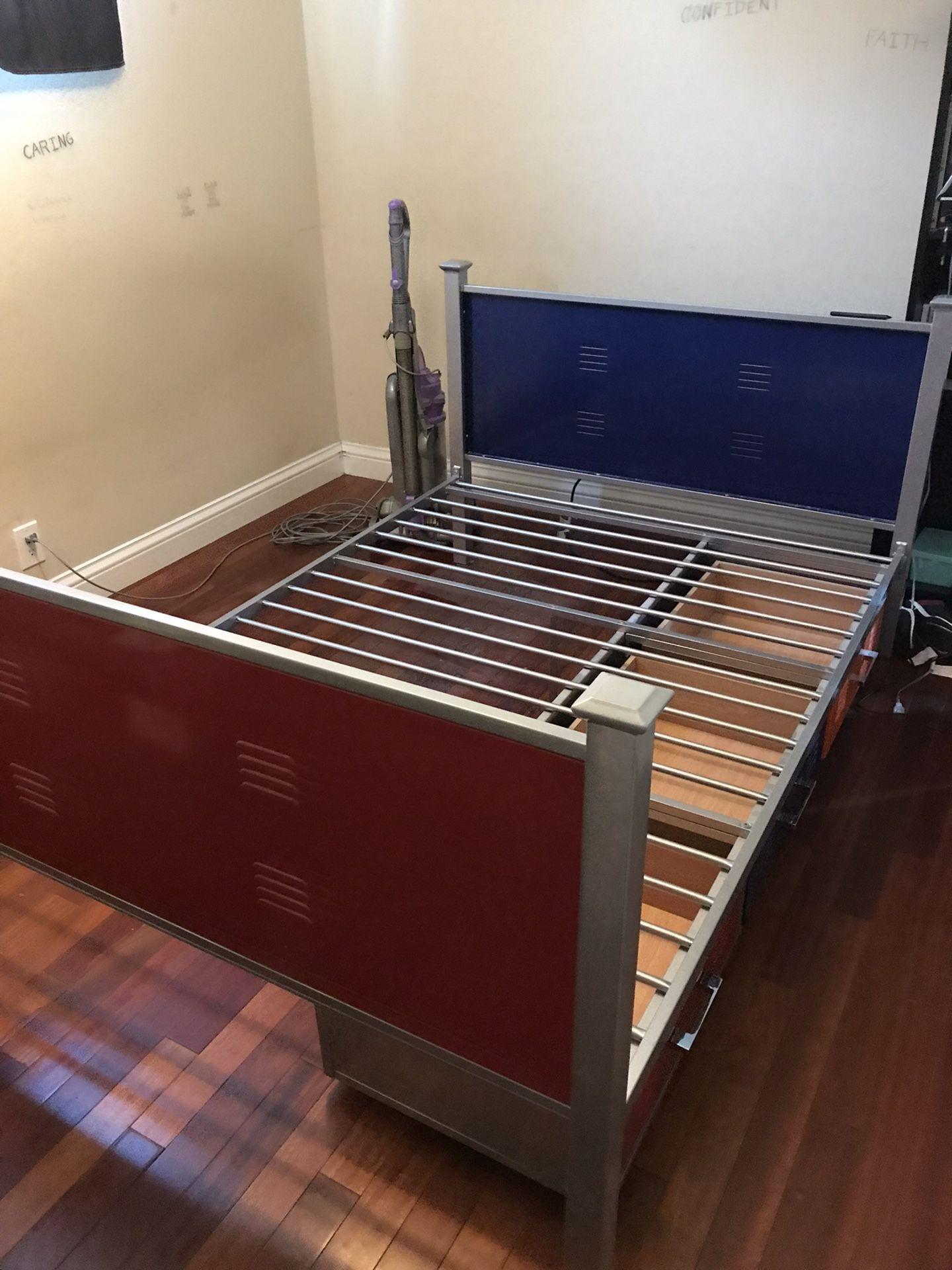 Full Locker Style Metal Bed Frame