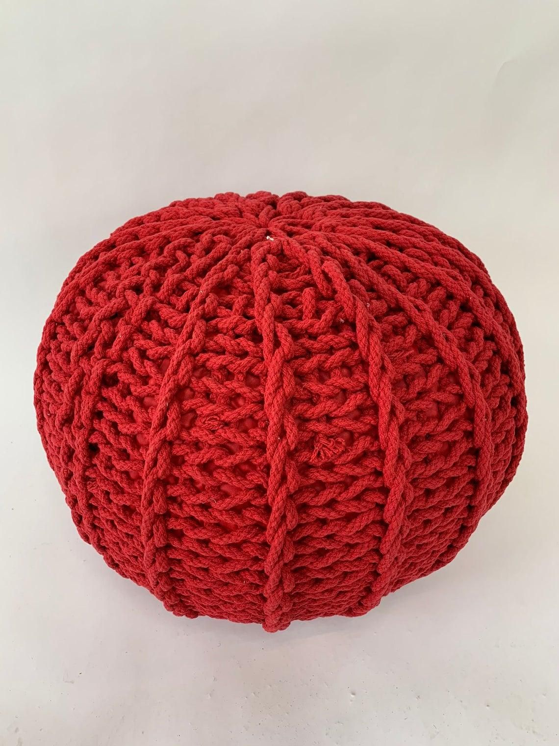 Knitted Round Foot Stool Twizler 100% Cotton Ottoman Braided Red Pouf
