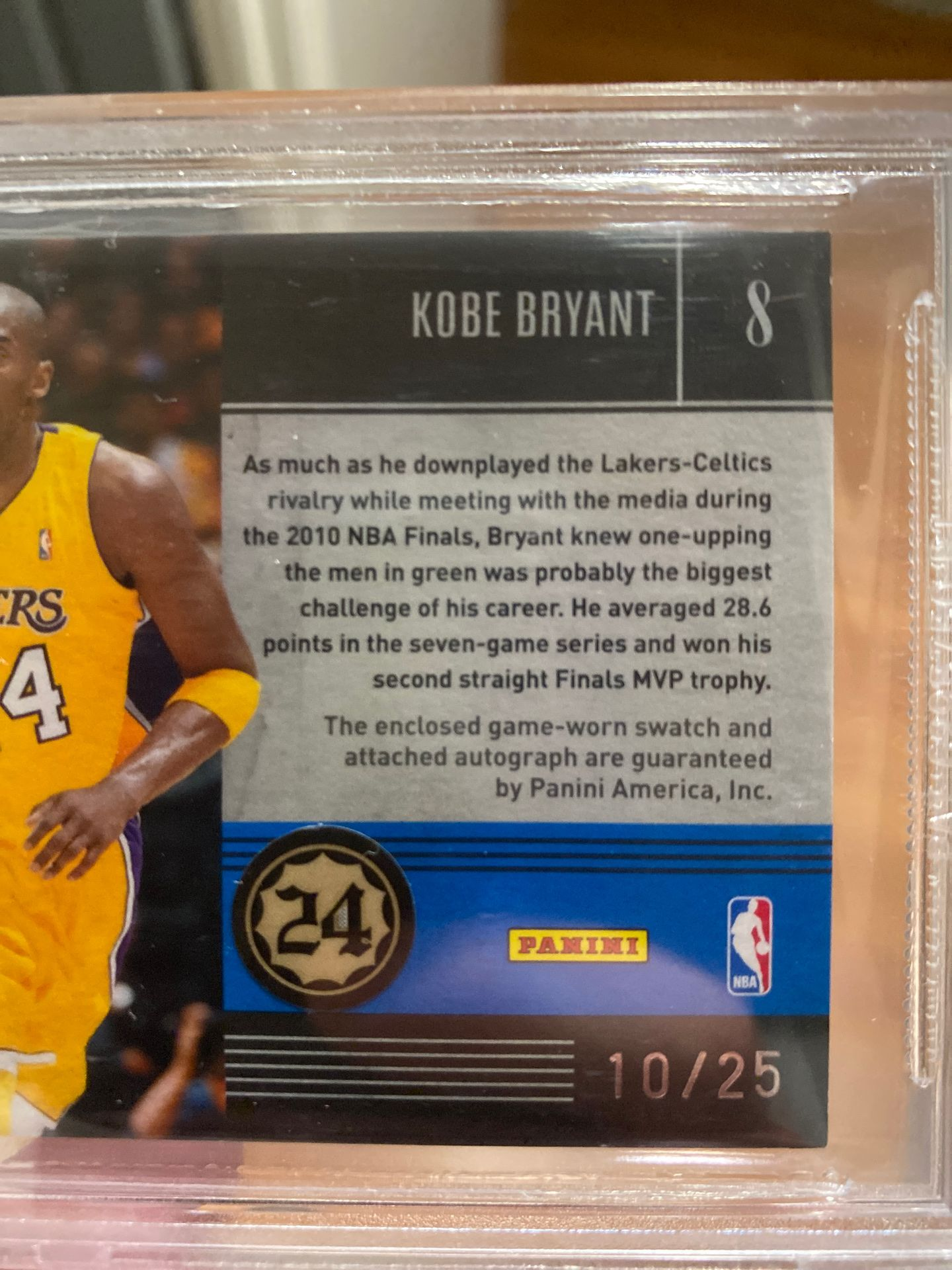 2010-2011 Timeless Treasures Kobe game worn jersey swatch autographed