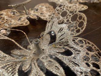 Glitter clip butterflies x 4 decor art craft Thumbnail
