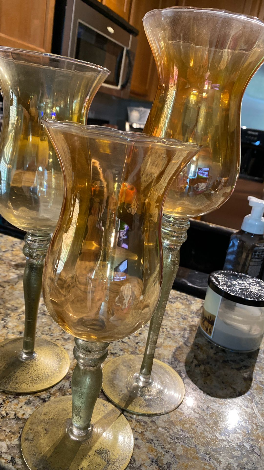 Glass / gold candle holders