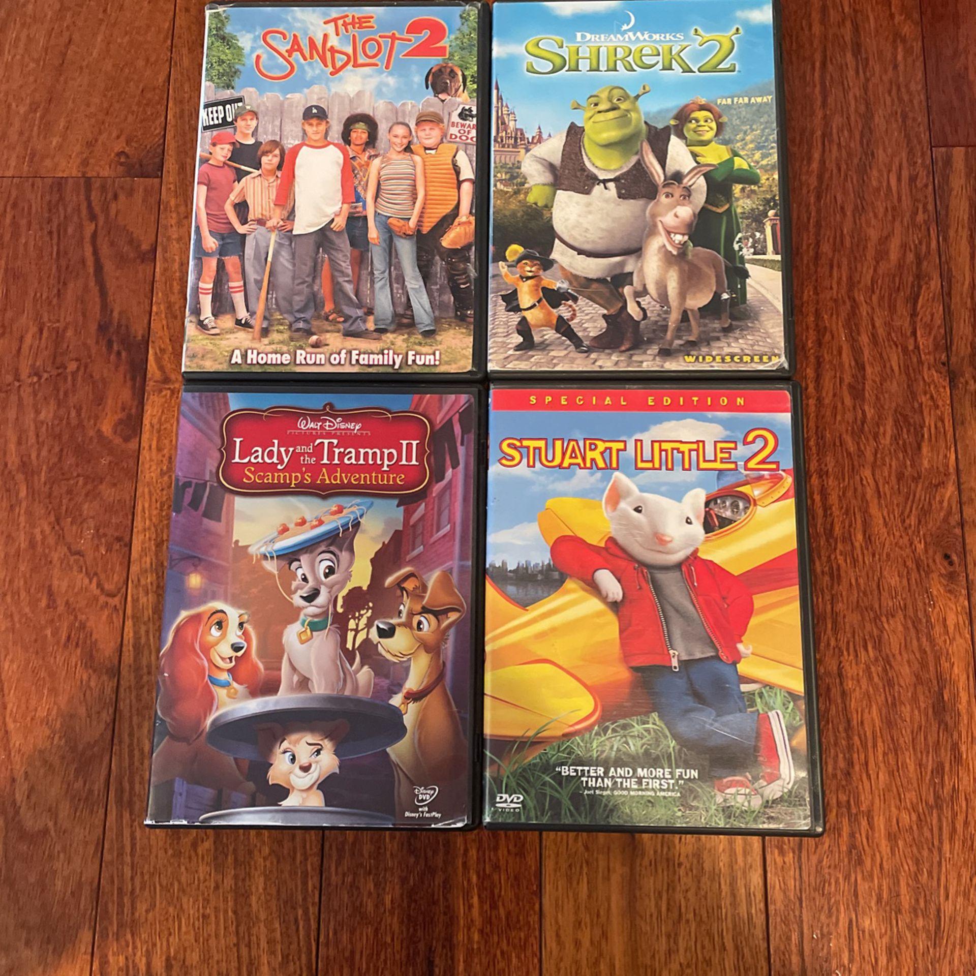 Shrek, Stuart Little, Sandlot, Lady & the Tramp. (All Of These Are #2's)(free Sandlot)