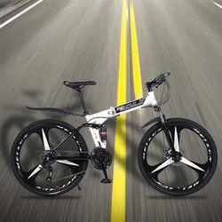 White 26 inch 21-speed folding mountain bike spoke wheel dual suspension bike for adult Thumbnail