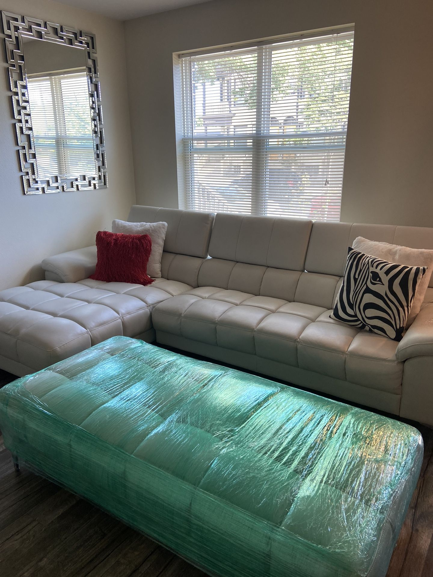 Off-White Faux Leather Sectional (couch + chaise + ottoman)