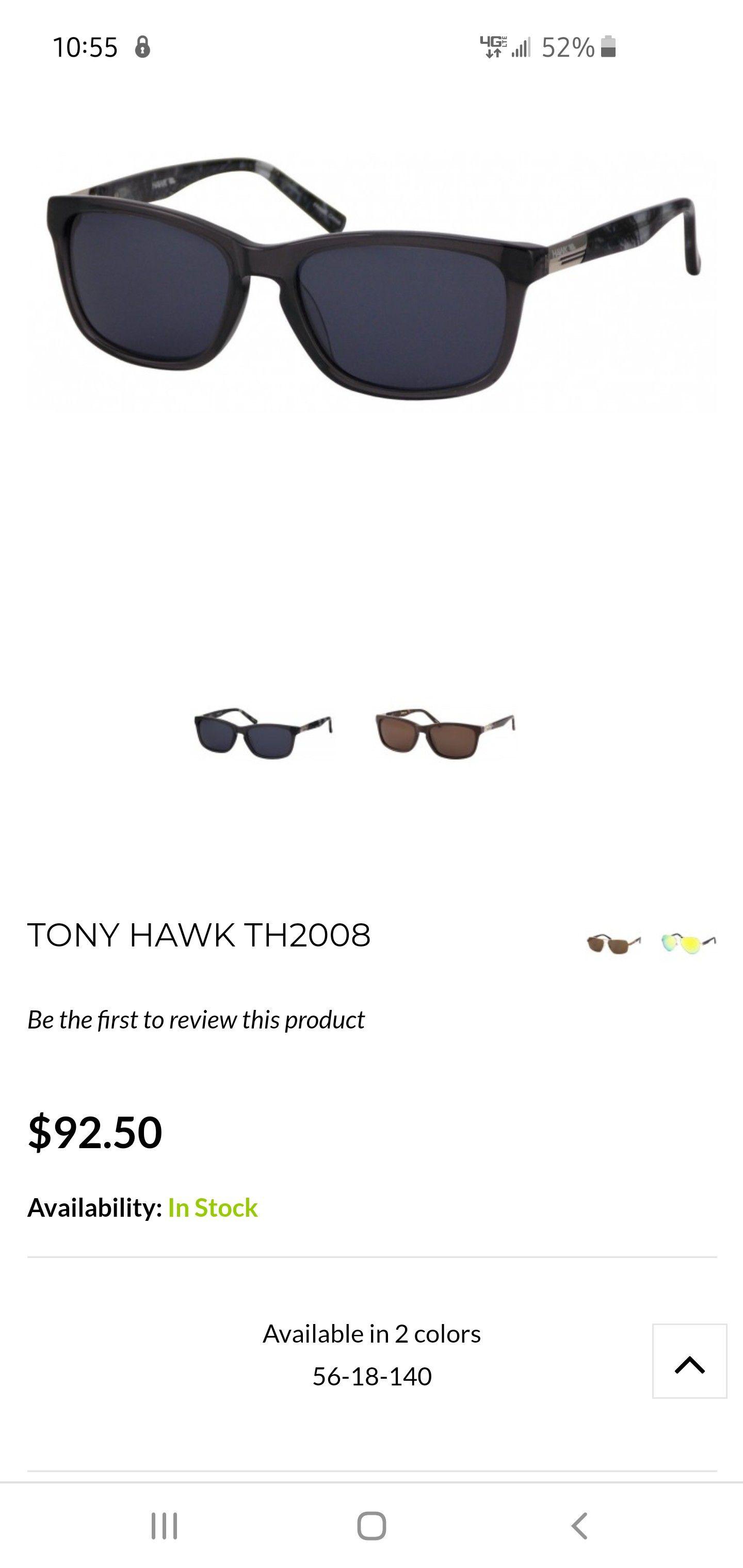 Tony Hawk Designer Sunglasses model TH2008