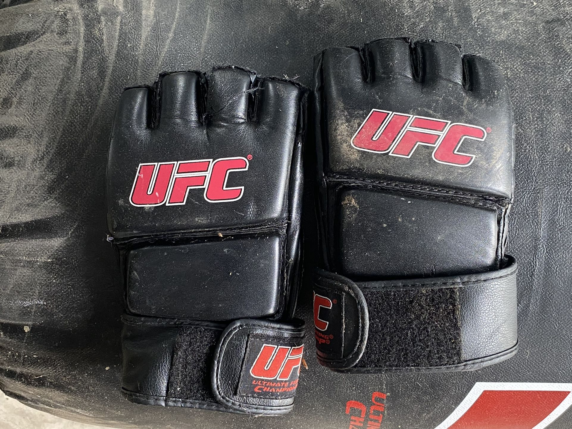 UFC gloves and heavy bag