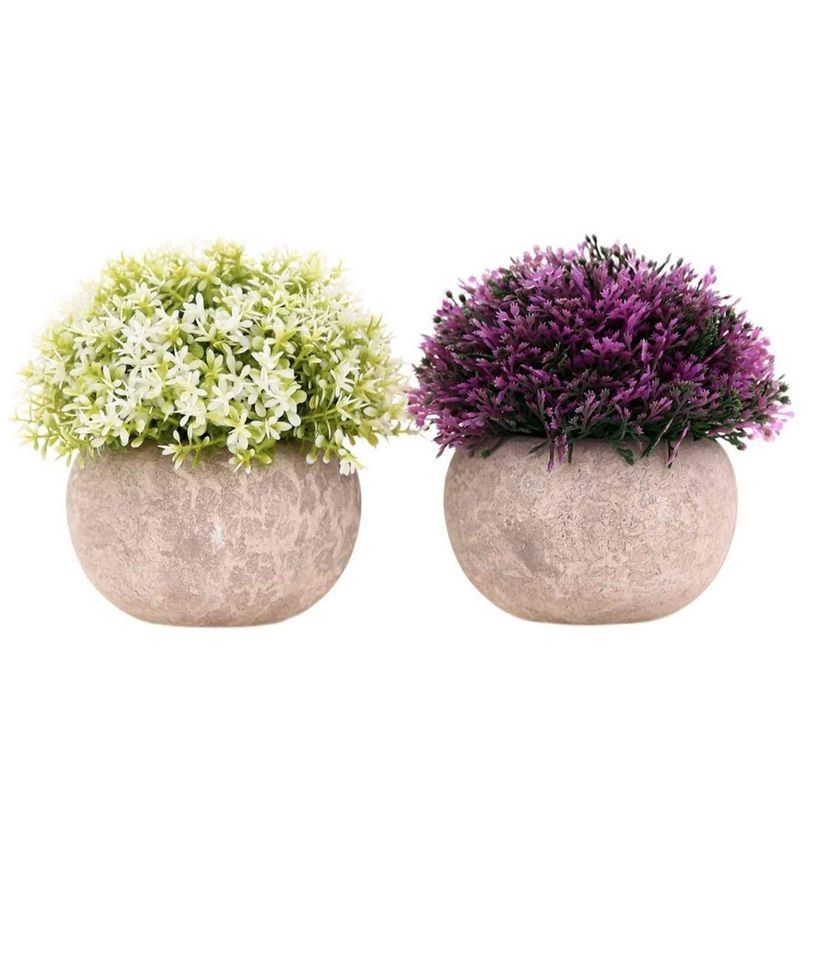 2-Pack Mini Artificial Plants Small Fakes Plants Topiary Shrubs Potted Decorative Faux Plant