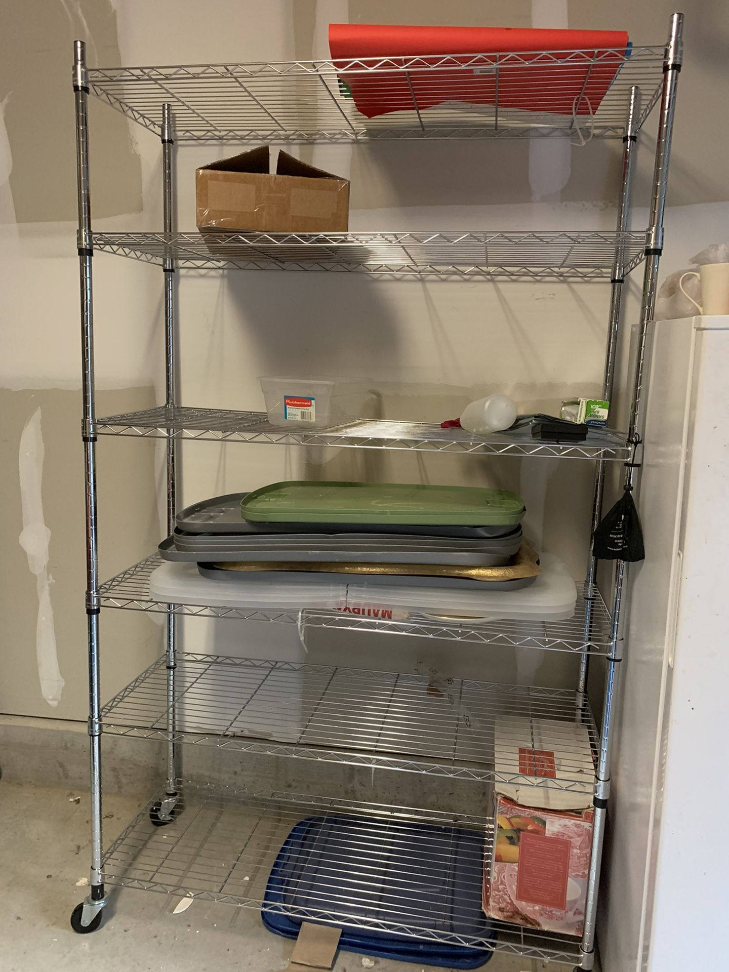 6 Tier Storage Shelves Metal Wire Shelving Unit with Wheels,