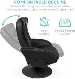 Electric Massage Recliner Chair with Stool Ottoman, Leather, Black Thumbnail