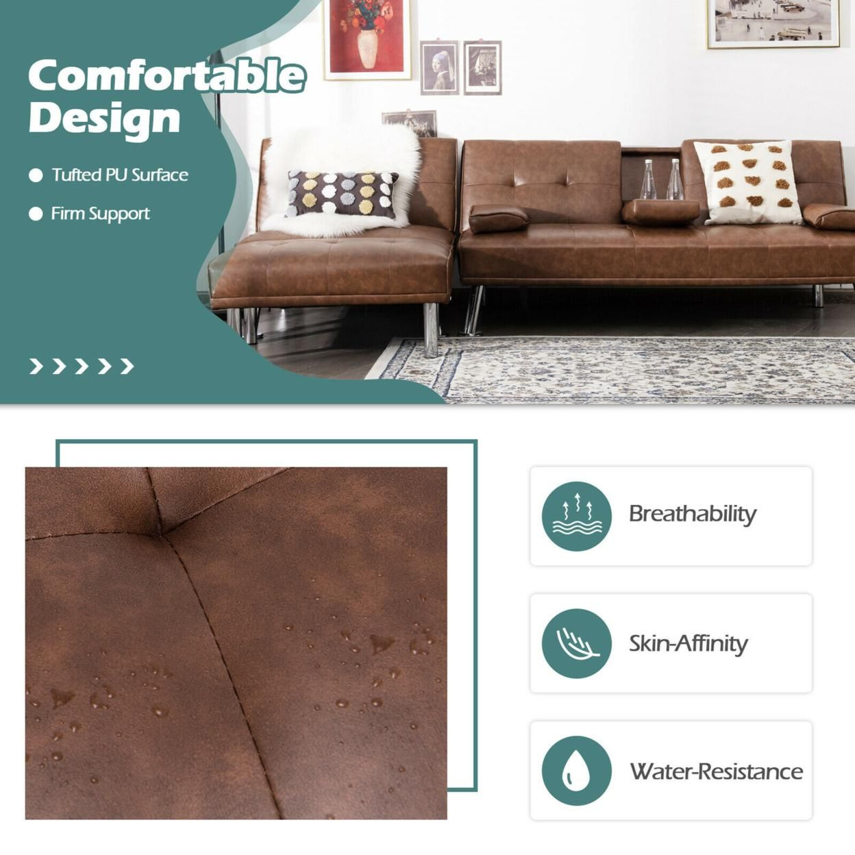 Gymax 3-Piece Sectional Sofa Set Convertible Futon w/Single Sofa & Ottoman Brown
