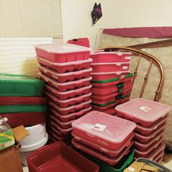 Plastic Stackable Storage Bins....$20--4ft Long Bin. Ornament Holder $7 Others $5. Thumbnail