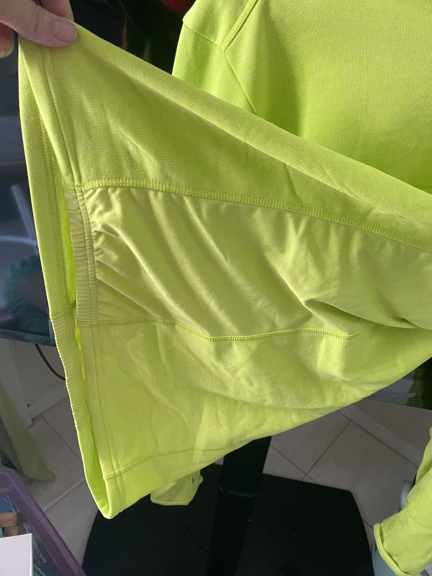 Adidas Neon Yellow/Green Light Weight Sweatshirt Hoodie NWOT