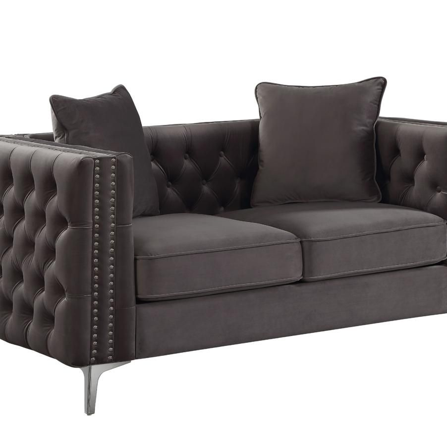 Velvet Upholstered Button Tufted Loveseat with Two Pillows, Dark Gray